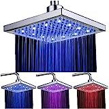 LED Soffione doccia 8 pollici controllo della temperatura 3 colore cambiando flusso d'acqua alimentato, soffione per doccia q