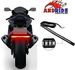 Andride Universal Flexible LED Motorcycle Brake Lights Turn Signal Light Strip 32 Leds License Plate Light Flashing Tail Stop Lights (1PC)
