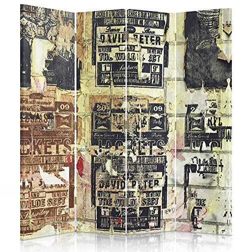 Feeby Frames Biombo impreso sobre lona, tabique decorativo para habitaciones, a una cara, de 4 piezas (145x150 cm), INSCRIPCIONES, VINTAGE, COLOR, MARRÓN