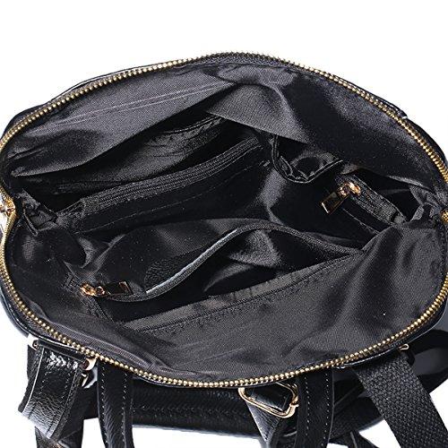 E-Girl Q0718 femme Cuir hybride Sac à dos Sacs portés,28x12x32 L x W x H (cm) Noir