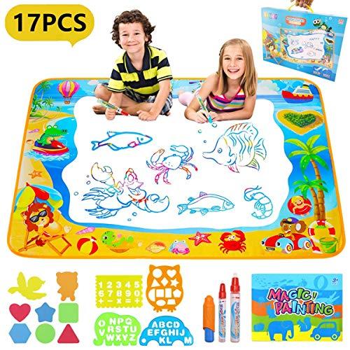 Pachock Aqua Magic Doodle Matte, 100 x 70 cm Wasser Doodle Matte mit 12 Stempelset und 3 Magic Stifte, Wiederverwendbare Wasser Malmatte für Kinder Baby Mädchen Jungen