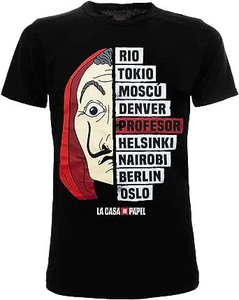Casa de Papel - House of Paper Tshirt Noir imprimé sur Le Devant Professor & Co. Produit Officiel 100% Original Netflix TV Series Mask Dalì Mesh T-Shirt (XXS)