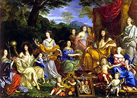 Mythological Portrait Of The Family Of Louis Xiv - By Jean Nocret - impressions sur toile 16x12 pouces - sans cadre