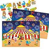 Bilder und Aufkleber mit Zirkusmotiven für Kinder zum Basteln und Aufstellen – Kreatives Bastelset für Kinder (4 Stück)