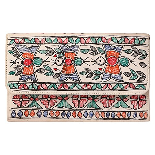 iMithila Multicolour Clutch Handpainted Mithila Painting of Parrots for Women and Girls
