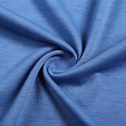 YesFashion Damen Weihnachten Casual Loose Tops Langarm Oberteile T Shirts Blumenmuster Gestreiftes Longshirt Rentier Blau