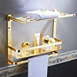 Serviette porte Porte-serviettes, acier inoxydable, salle de bains, Convient for les salles de bains et les cuisines, Porte-serviettes doré Porte-serviettes en aluminium à 2 couches Porte-serviettes g