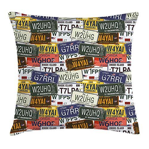 VICKKY USA Throw Pillow Cushion Cover, Retro American Auto License Plates Utah Washington Rhode Island North Carolina Print, Decorative Square Accent Pillow Case, 18 X 18 Inches, Multicolor
