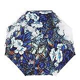 Parapluies pliants-Blue pliage Vendela Conception originale,femmes,filles mesdames, la peinture à l'huile 3 parapluie Parasol pliant Lady Fashion Girl Portable pliage parapluie de voyage légère pluie Transport facile Business