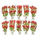 sourcingmap® 10pz rosso in plastica verde acquarioacqua acquatico decorazioni vegetali ornamento