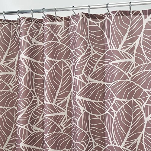 mDesign Duschvorhang Anti-Schimmel - Dusch- & Badewannenvorhang mit Palmenblättern - Duschvorhang wasserabweisend - 12 verstärkte Löcher für einfache Aufhängung - braun