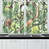 JIUCHUAN Dinosauri realistici di Gruppo circondati da Tende per Tende da Cucina Tendalini per Tende da caffè, Bagno, Lavanderia, Soggiorno Camera da Letto 26 x 39 Pollici 2 Pezzi