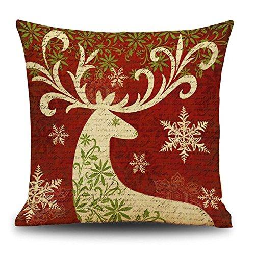 (TEBAISE Weihnachten Festival Schneeflocke Leinen Zierkissenbezüge Dekokissen Sofakissen Home Dekorative Kissen für Sofa Schlafzimmer Auto 45 ×45 cm Karneval Fasching Fasnacht Zierkissen)