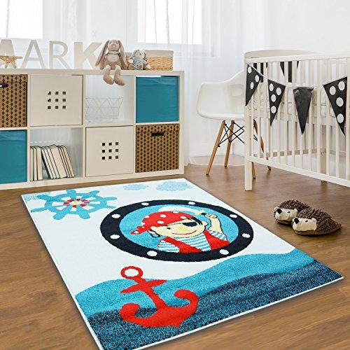 Alfombra pirata para niños, color azul, rojo y beige, varios tamaños, 140 cm_x_200 cm