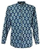 Guru-Shop Goa Boho Hemd, Herrenhemd mit Afrikanischem Druck, Stehkragenhemd, Indigo, Baumwolle, Size:M, Männerhemden Alternative Bekleidung