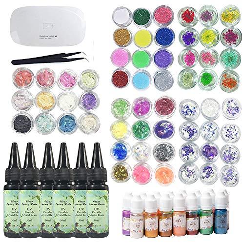 UV-Epoxidharz transparent mit kompakter UV-Lampe + 60 Dekorationssets + 15 Perlglanzpigmenten, einschließlich glitzernden getrockneten Blumen holographische Pailletten Perlglanz-Perlmuttschale