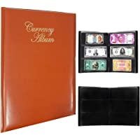 Mahogany Life Currency Album for Notes (102 Pockets) - Faux Leather Cover Currency Note Collection Album - Fits Big…