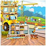 azutura Gelber Bagger Fototapete BAU Tapete Boys Room Nursery Dekor Erhältlich in 8 Größen Extraklein Digital