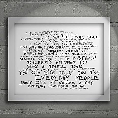 'Noir Paranoiac` Poster Affiche d'art - SLY & THE FAMILY STONE - Stand! - Edition signée et numérotée limitée typographie non encadré 20 x 25 cm la musique album mur art haute qualité d'impression - Song lyrics music poster