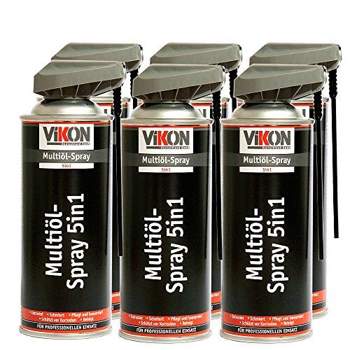 6 Dosen VIKON Multiöl 5in1 Spray 400 ml mit Spezial-Sprühkopf - Schmiermittel, Rostlöser, Kontaktspray, Korrosionsschutz & Reiniger in einem Produkt -