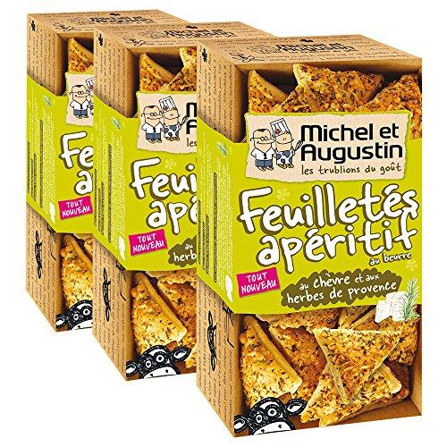 Michel et Augustin Feuilletés apéritif pur beurre au chèvre et aux herbes de Provence 65g - Lot de 3