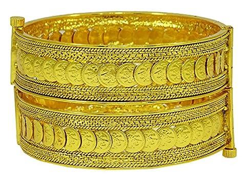 Matra Gold Tone Schraubensicherung Göttin Laxmi Ginni Münzen 2 Stück Kada Armband Armreif Schmuck 2*4