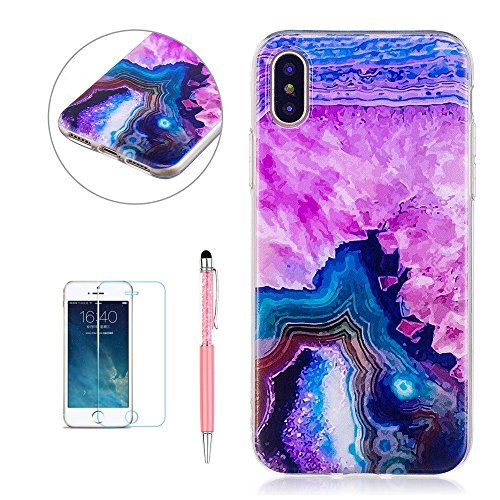 Cover Custodia per iPhone X, Hancda TPU Ultra Sottile Copertura Bumper Custodia in Silicone Antiurto Resistente Colorate Gomma Gel Case Antishock Morbida Cassa Cover per iPhone X con Pellicola Protett Marmo 4