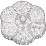SAVITA 1150 Piezas 3/4/5/6/8/10/12mm Perlas Redondas Blancas Perlas Espaciadoras Sueltas de Satén para Manualidades Collares