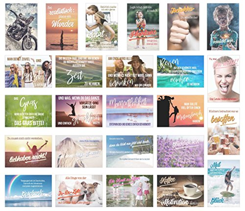 Set 25 Postkarten Mit Spruchen Karten Mit Spruch Geschenk