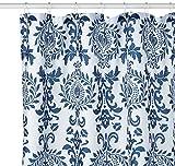 InterDesign Damask Duschvorhang | Hochwertiger Duschvorhang mit Ösen aus Metall| Designer Duschvorhang in der Größe 180,0 cm x 200,0 cm | Polyester Marineblau