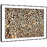 BFC281E gerahmtes Bild drucken Wandkunst - Brennholz aufgereiht Moderne Malerische Landschaft Wohnzimmer Schlafzimmer Stück Wohnkultur Leicht Hang Guide (86X61cm)