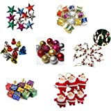 IMTION Combo ( 80 pcs Christmas decoration set + Free Cartoon Striker kids use )Small/Mini Christmas Tree Decorations Set (Ba