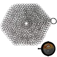 GAINWELL Stainless Steel Chainmail Scrubber Steel Cast Iron Cleaner 8in