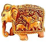 gangamani Fashions Hand geschnitzt aus Holz handgefertigten Elefant Visitenkarte/Statue/Home Decor/Geschenk Artikel, holz, braun, 10,2 cm