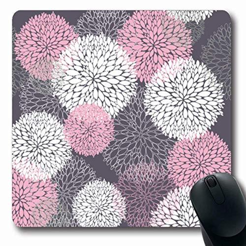 Moderne Blüte (Mousepad längliche Blume rosa Blumenmuster niedliche abstrakte Frühlingsform braune Pfingstrose geometrische moderne Blüte weiße Büro-Computer-Laptop-Notizbuch-Mausunterlage, rutschfester Gummi)