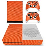DOTBUY Vinyl Decal Full Body Skin Sticker For Microsoft Xbox One S Console And 2 Controllers And Kinect 2.0 (Carbon Fiber Orange)