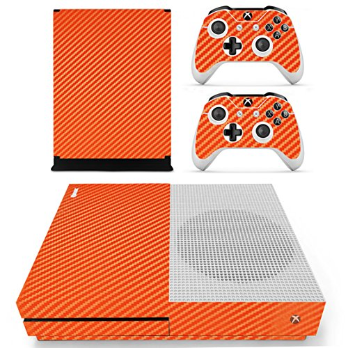 dotbuy Xbox One S selbstklebend Konsole Decal Vinyl Skin Sticker + 2selbstklebend Controller + 1selbstklebend Kinect Set orange Carbon Fiber Orange (Holz-xbox 360-shell)