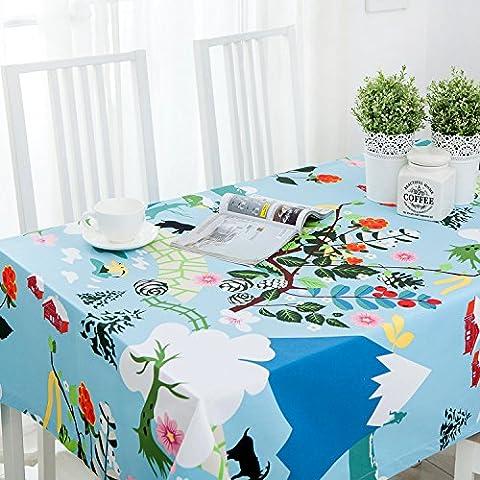Jhxena Nappe Coton Lin De Style Japonais Et D'Un Plateau Café Capot Table Cloth, Bleu 120*160Cm