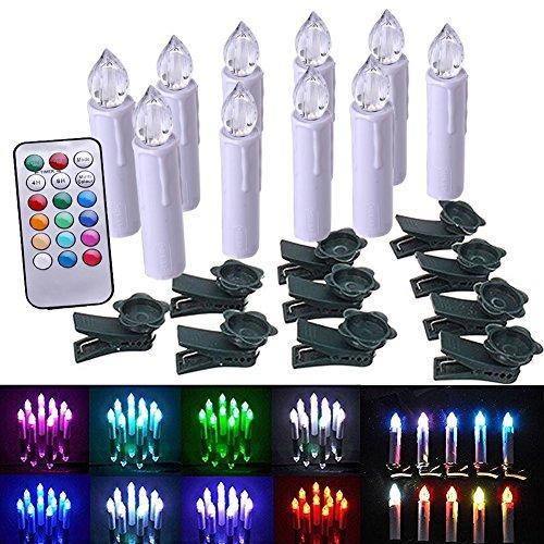 imanson 10pcs Multicolor árbol de LED sin llama taper velas-doce velas con efecto parpadeante luz con mando a distancia función de temporizador y extraíble Clips para Navidad boda fiesta decoración