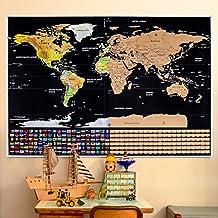 Mapa para Rascar Mapa del Mundo para Rascar Mapamundi de Pared, con Países por el Mundo y Sus Banderillas para Marcar Tus Aventuras, Un Gran Regalo para Anotar las Memorias de Viajes 82x59CM (1 plectro) Rabbitgoo