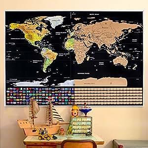 Rabbitgoo Mappa del Mondo da Grattare Mappa Scratch XXL con Bandiere Nazionali Colorate Mappa da grattare Regalo Ideale per i Viaggiatori e gli Appassionati di Geografia 82x59 CM