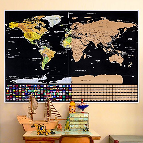 Geography gift amazon scratch off world map with flags travel scratch map poster us and canadian states outlined geomorphological detail travel tracker poster share your gumiabroncs Images