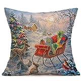 Lucky Mall Frohe Weihnachten Leinen Kissenbezüge für Sofa Home Dekoration