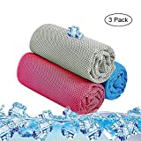 Aolvo 3Pcs Kühlung Handtuch, Quick Dry Cool Sofortige Linderung Ice Handtuch Weat-Absorbent Mesh Chill Pad Kühlung Temperatur 16Grad, für Sport, Workout, Reisen, Fitness, Gym, Yoga, Pilates