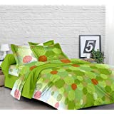 Lali Prints Designer Printed Print Cotton 1 Double Bedsheet With 2 Pillow Covers-Green