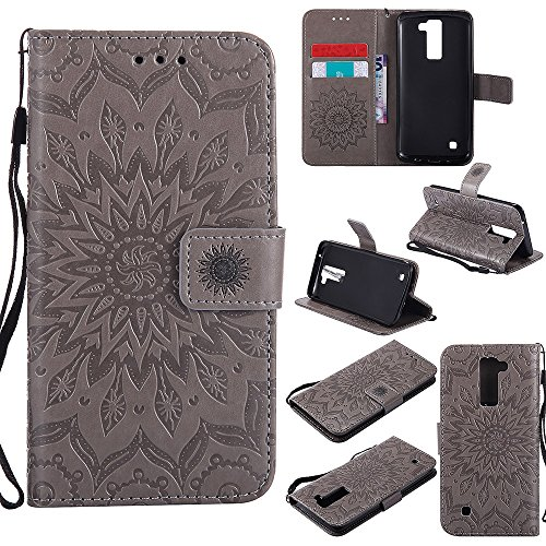 Für LG K8 Fall, Prägen Sonnenblume Magnetic Pattern Premium Soft PU Leder Brieftasche Stand Case Cover mit Lanyard & Halter & Card Slots ( Color : Gray ) Gray