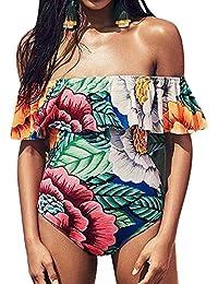 Mujer Bañadores Sin Tirantes Estampado Floral Bikinis Traje de Baño