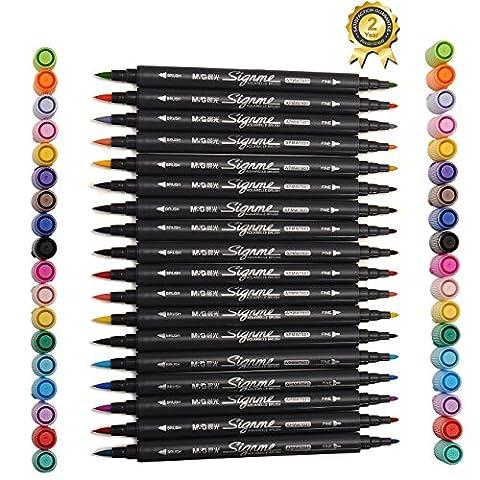 Magicdo® 18Cols Textmarker,Dual Tip Aquarell Pinsel Pen Wasser basierte Marker für Skizzieren,Malerei und Färbung,Wasser lösliche Marker Pen mit Wasser Farbe Pinsel Spitze und feine Spitze (18)
