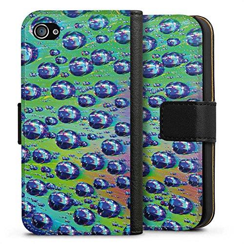 Apple iPhone X Silikon Hülle Case Schutzhülle Tropfen Licht Wasser Sideflip Tasche schwarz