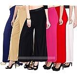 Lili Women's Stretchy Malia Lycra Wide Leg Palazzo Pants (Free Size, Pack of 6, Navy Blue & Tan & Black & Baby Pink & Red & W